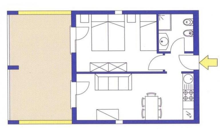 aparthotel ASHANTI: B4 Sud - planimetria 1 (esempio)